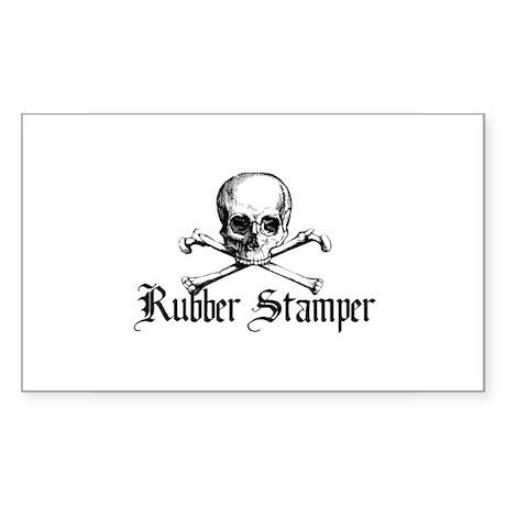 Rubber Stamper - Skull & Cros Rectangle Sticker