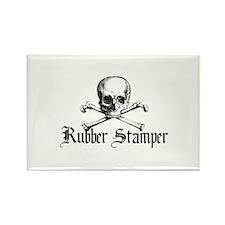 Rubber Stamper - Skull & Cros Rectangle Magnet