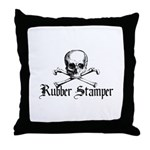 Rubber Stamper - Skull & Cros Throw Pillow