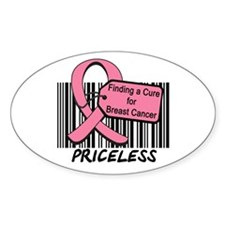 Breast Cancer Cure Priceless Oval Sticker (10 pk)