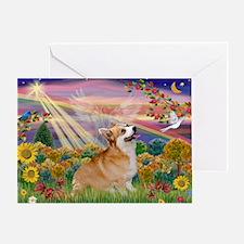 Autumn Angel Corgi Greeting Card