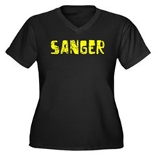 Sanger Faded (Gold) Women's Plus Size V-Neck Dark