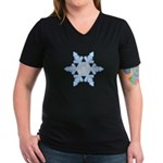 Flurry Snowflake X Women's V-Neck Dark T-Shirt