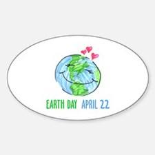 Earth Day April 22 Oval Decal