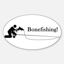 """Bonefishing!"" Oval Decal"
