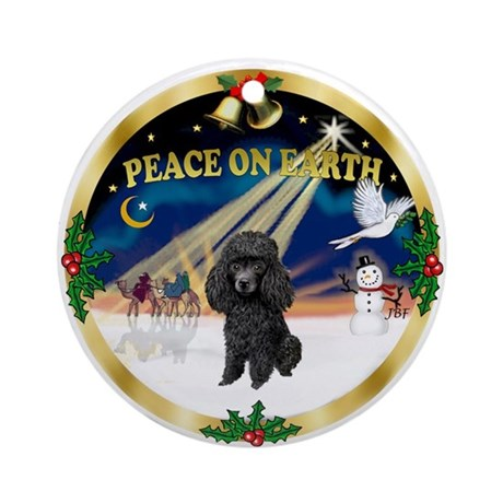 Peace - Black Poodle Ornament (Round)