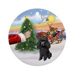 Treat for Santa's black Poodle Ornament (Round)