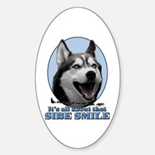 Gray Sibe Smile Oval Decal