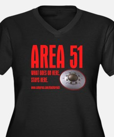AREA 51 BLACK, Women's Plus Size V-Neck Dark T-Shi
