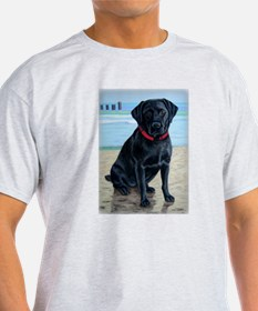 Black Lab on Beach T-Shirt