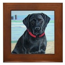 Black Lab on Beach Framed Tile