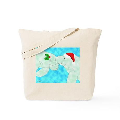 Christmas Manatees Tote Bag