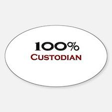 100 Percent Custodian Oval Decal
