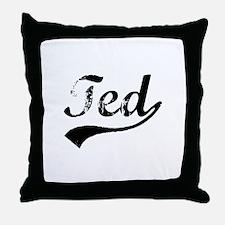 Vintage Ted (Black) Throw Pillow
