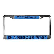 Rescue Dog Porcelaine License Plate Frame