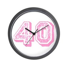 Pink 40 Years Old Birthday Wall Clock