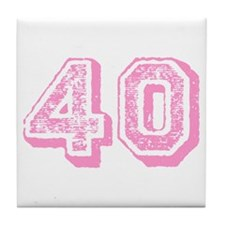 Pink 40 Years Old Birthday Tile Coaster