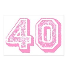 Pink 40 Years Old Birthday Postcards (Package of 8