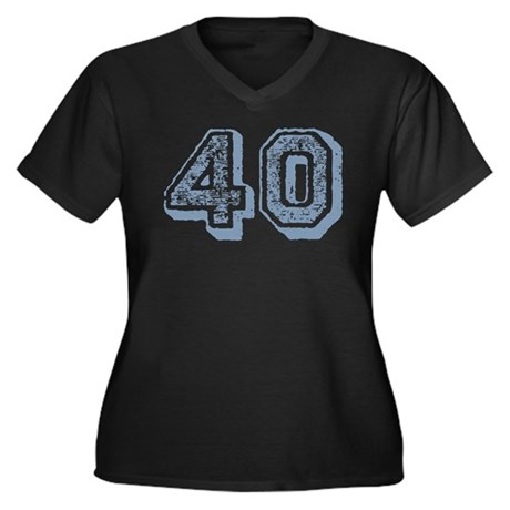 Blue 40 Years Old Birthday Women's Plus Size V-Nec
