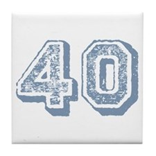 Blue 40 Years Old Birthday Tile Coaster