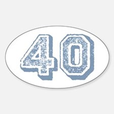 Blue 40 Years Old Birthday Oval Decal