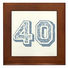 Blue 40 Years Old Birthday Framed Tile
