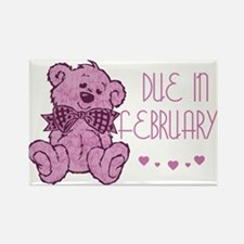 Pink Marble Teddy Due February Rectangle Magnet