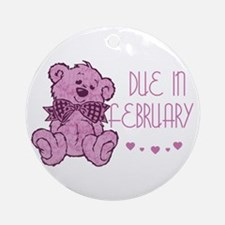 Pink Marble Teddy Due February Ornament (Round)
