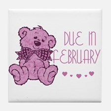 Pink Marble Teddy Due February Tile Coaster