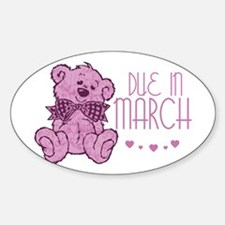 Pink Marble Teddy Due In March Oval Decal