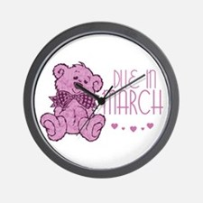 Pink Marble Teddy Due In March Wall Clock