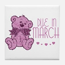 Pink Marble Teddy Due In March Tile Coaster