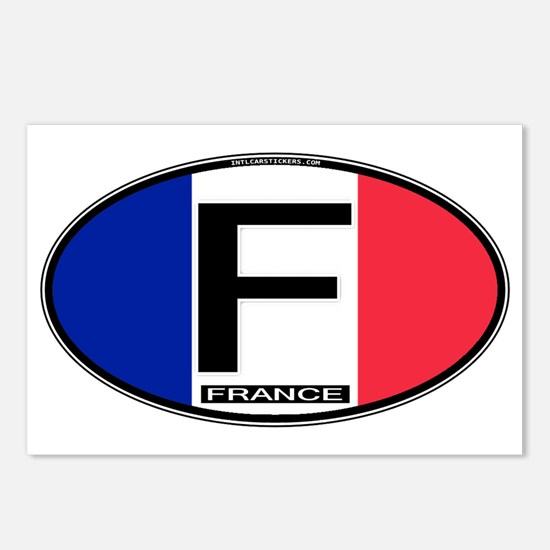 France Oval Colors Postcards (Package of 8)