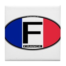 France Oval Colors Tile Coaster