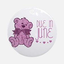 Pink Marble Teddy Due In June Ornament (Round)