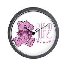 Pink Marble Teddy Due In June Wall Clock