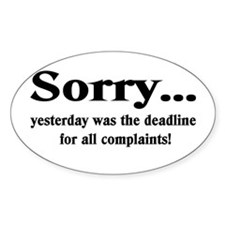 complaints Oval Decal