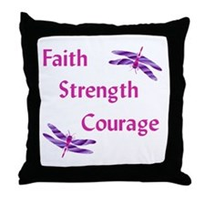 Faith, Strength, Courage Throw Pillow