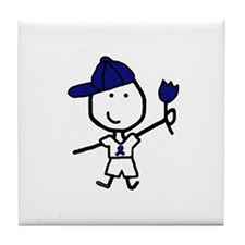 Boy & Blue Ribbon Tile Coaster