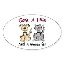 Adopt A Homeless Pet Oval Decal
