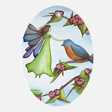Fairy and Bird Oval Ornament