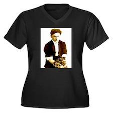 Houdini's Ghost Women's Plus Size V-Neck Dark T-Sh