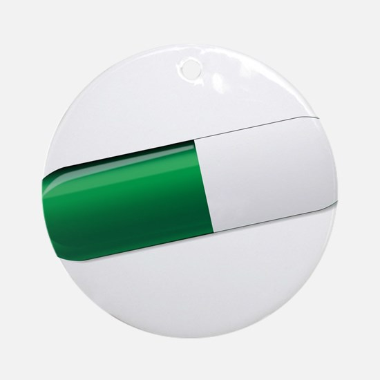 Green And White Capsule Round Ornament