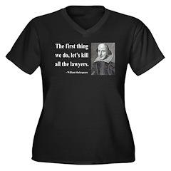 Shakespeare 14 Women's Plus Size V-Neck Dark T-Shi