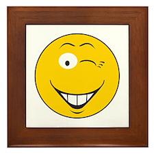 Flirting Winking Smiley Face Framed Tile