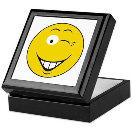 Flirting Winking Smiley Face Keepsake Box