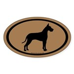 great dane oval (white on brown) Oval Sticker