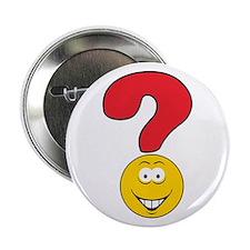 """Smiley Face Question Mark Design 2.25"""" Button"""