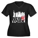 New York Women's Plus Size V-Neck Dark T-Shirt