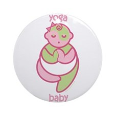 Yoga Baby : Pink & Green Ornament (Round)